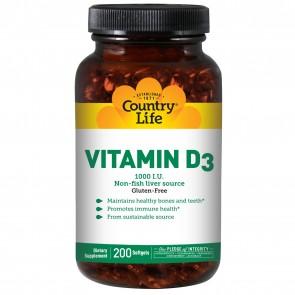 Country Life Vitamin D3 (1000IU) 200 Softgels