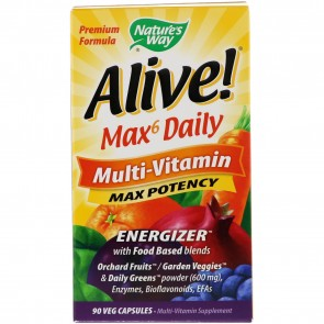 Nature's Way Alive! Whole Food Energizer, Multi-Vitamin with Iron, 90 Veggie Capsules