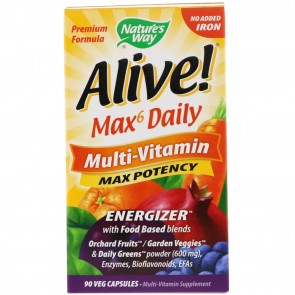 Alive Multi-Vitamin Whole Food Energizer No Iron Added - 90 Vegetarian Capsules by Nature's Way