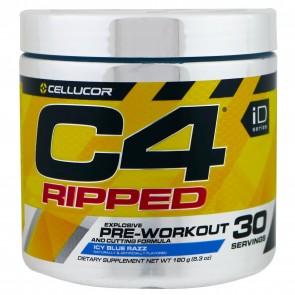 Cellucor C4 Ripped Pre-workout Cutting Formula Icy Blue Razz 30 Servings 6.34 oz