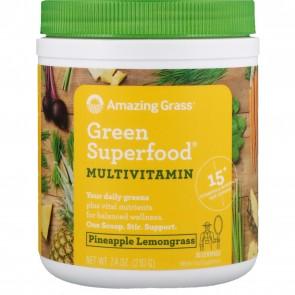 Amazing Grass Green Superfood Multivitamin Pineapple Lemongrass 7.4 oz (210 Grams)