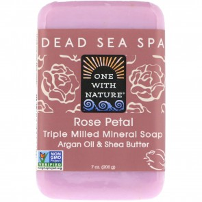 One With Nature - Dead Sea Mineral Bar Soap Rose Petal - 7 oz.