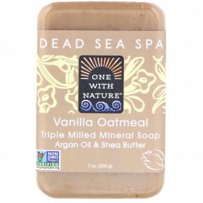 One With Nature - Dead Sea Mineral Bar Soap Pure Glycerin Vanilla Oatmeal Soap - 7 oz
