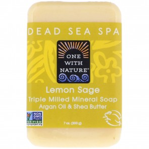 One With Nature Dead Sea Mineral Lemon Sage Bar Soap 7oz
