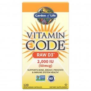 Garden of Life Vitamin Code Raw D3 120 Capsules